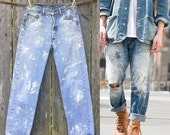Levi's 501xx Boyfriend Jeans w Paint splatter. 501 xx Vintage 1970s Waist 30 x30 Levis Workwear, Distressed Denim pants Medium wash Levi 4P
