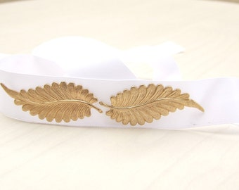 Bridal white Sash, Gold Leaf  Belt, Greece Goddess Sash, Wedding Sash, White Ribbon Sash