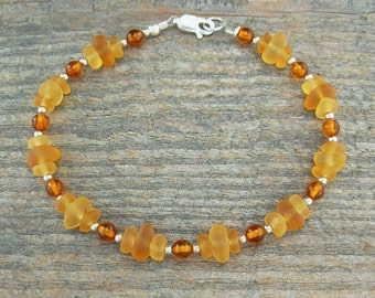 Topaz 'Sea Glass' and Amber Anklet - Baltic Amber & 'Beach Glass' Chips with Sterling Silver Spacers, 9 inch, 10, 11 inch, 12 inch++