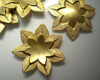 6 large brass lotus flower charms