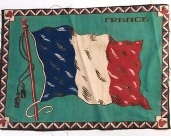 FRENCH FELT FLAG tobacciana, Cigar box felt flag, cigar felt flag, French flag, green background, billowing flag, cigar box collections