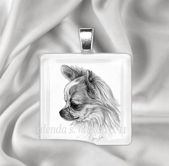 Chihuahua Long Coat Dog Fine Art Glass Pendant