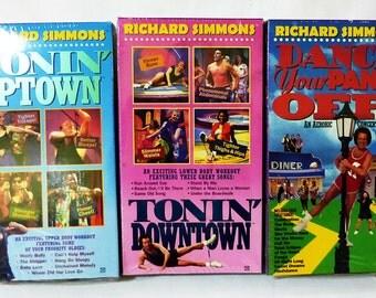 Richard simmons VHS dance your pants off, tonin downtown, tonin uptown lot of 3