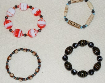 Sporty Single-strand Elastic Beaded Bracelets