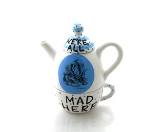 Alice in Wonderland teapot,  tea for one mad hatter we're all mad here,  Lewis Carroll, through the looking glass, book lover