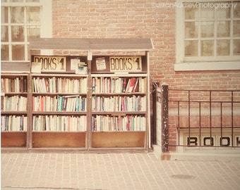 Book Shop Photography, Boston Photograph, Urban Travel Photography, Bookstore, Brown retro vintage, Book Lover, Library Decor, Netural Brown