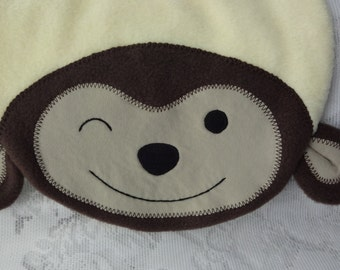 Monkey Bib, Infant Baby Bib, Animal Reversible Fleece Bib, Animal Bib, Baby Shower Gift, Baby Bib, Newborn Gift, Newborn Toddler Bib