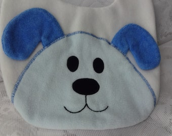 Puppy Bib, Infant Baby Bib, Animal Reversible Fleece Bib, Animal Bib, Baby Shower Gif, Blue Puppy Bib, Baby Bib, Newborn Gift, Toddler Bib