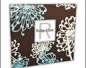 BABY BOOK | Floral Spray Blue and Brown Album | Ruby Love Modern Baby Memory Book