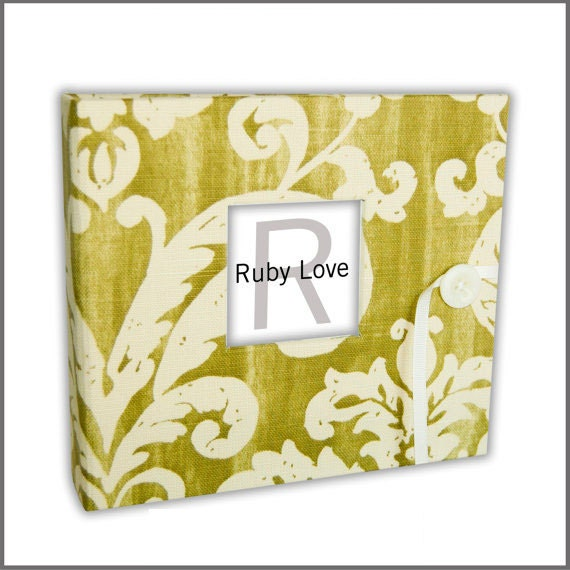 Lime Green Brocade Baby Book | Vintage Baby Memory Book
