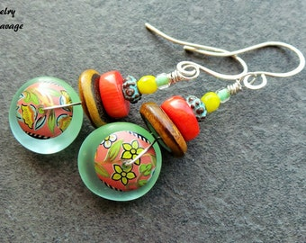 Boho Chic Glass Colorful Earrings, Lampwork Glass Vintage Capped Glass and Czech Beaded Earrings, Coral Green Turquoise Earrings