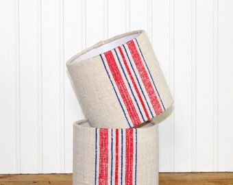 Grain Sack Sconce Lamp Shade Lampshade Mini Drum Antique Industrial Red and Blue Stripe