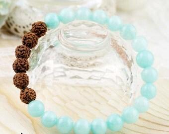Health and tranquil unisex bracelet - quartziete and rudraksha