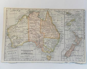 Small Vintage Map of  Australia 1899