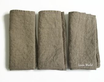 """Set of 6 Linen Napkins. 13""""x13"""" Natural grey linen napkins, pre-washed, soft flax table napkins, rustic style"""