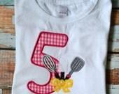 Chef Birthday Shirt, Girls Baking Birthday Shirt, Baking Party, Girls Birthday Shirt