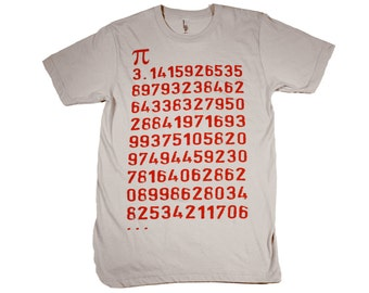 Mens Pi MATH Shirt - American Apparel T SHIRT xs, s, m, l, xl and xxl