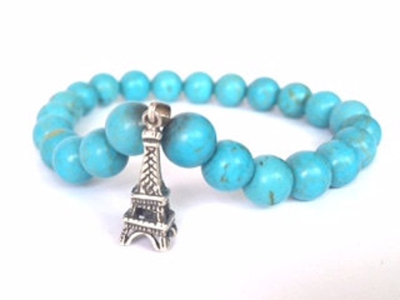 Silver Paris Charm Turquoise Beads Stretch Bracelet