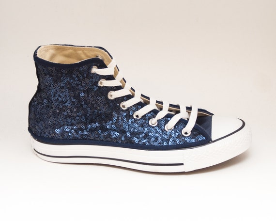 paillettes bleu marine toile converse salut par princesspumps. Black Bedroom Furniture Sets. Home Design Ideas