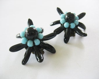 Glass Edelweiss Flower Earrings W. Germany Clip On 1950's Black and Turquoise