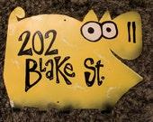 Yellow Pig Address Sign: Custom Animal Address Plaque