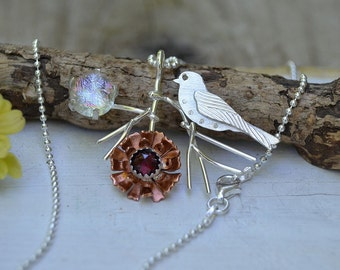 Sterling silver bird pendant statement necklace, mixed metal, dichoric glass jewelry, garnet necklace, neon, sparrow, flower necklace