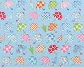 2553E - Lovely Colorful Small Umbrella Fabric in Blue , Star, Heart, Flower , Dot Fabric