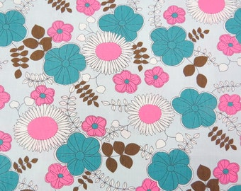 2608A - Sale - Sunflower, Poppy and Vine Leaf in Light Cyan , Flower Fabric , Floral Fabric