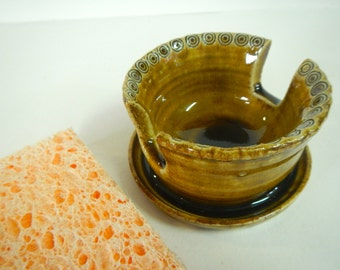 Ceramic Amber Sponge Holder-Sponge Caddy-Kitchen Decor