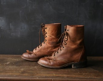 Vintage Ankle Boots Ropers Lacers Granny Boots From Laredo 5.5 Womens From Nowvintage on Etsy