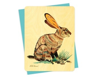 Dolan Jack Rabbit Wood Notecard -  A Collaboration with Mixed Media Artist Dolan Geiman - Real Birch Wood Card - WC370