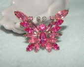 Vintage Two Toned Pink Rhinestone Butterfly Brooch Prong Set