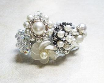 White Wrist Corsage Bracelet Silver Pearl Rhinestone