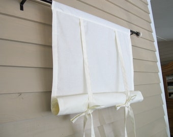 Ivory Cotton 48 Inch Long Window Shade Roll Up Swedish Blind Stagecoach Off White Tie Up Curtain Swag Balloon