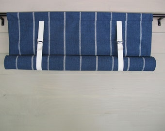 Blue Denim Roll Up Window Shade Swedish Blind Stage Coach Valance Twill Tape and Buckle Ties