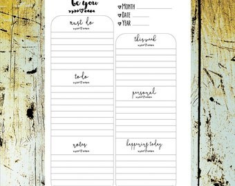 BE YOU A5 Daily Planner UNDATED Daily Inserts   > downladable digital printable< by Christy Tomlinson
