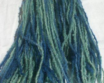 Blue Teal Micro Dreadfalls 50ct Double Ended Dread, Hair Extensions Raver Hair