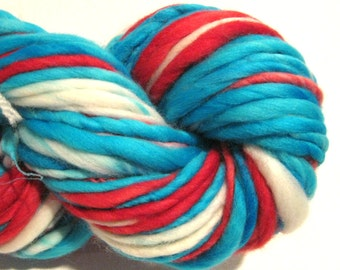Handspun Yarn Dr. Seuss 90 yards hand dyed merino wool blue yarn red yarn turquoise waldorf doll hair knitting supplies crochet supplies