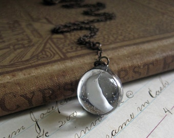 White Marble Necklace Glass Pendant Cat's Eye Vintage Marble Unique Repurposed