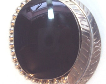 Large Taxco Sterling Silver Pendant Pin with Black Onyx Stone