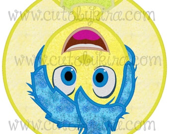 Yellow Emotion Girl Applique Machine Embroidery Design (DIGITAL ITEM)