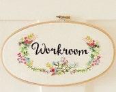Embroidered Floral Oval Hoop Door Sign pdf pattern download