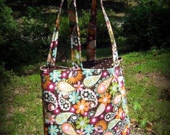 Brown Floral Paisley Tote Bag