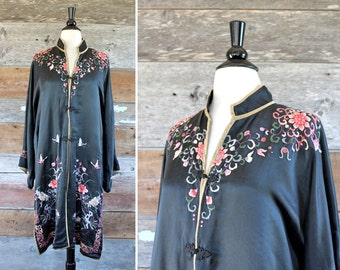 1920s robe / 1920s Asian silk robe / 1920s black floral duster jacket / size l - xl