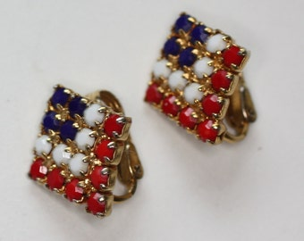 Red White and Blue Faceted Bead Clip Earrings Patriotic Vintage