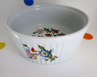 Large Casserole Dish - Le Jardin by Dolphin ridged bowl with colorful flowers - Oven to table bowl