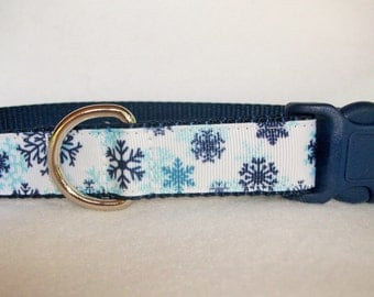 Winter Snowflakes Dog Collar, In M, L, XL