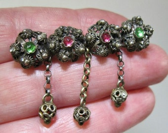 Antique Victorian 800 Silver Filigree Brooch - Cannetille - Pink Green Paste Stones - 19th Century - Dainty - Dangles