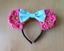 Hot Pink Floral Minnie Ears with Mint Green Bow