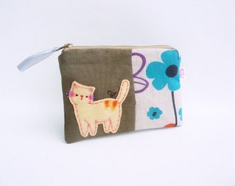 Cat Zipper Pouch, Cat Coin Purse, Cat Wallet, Cute Purse, Fabric Pouch, Credit Card Pouch, Coin Wallet, Linen Pouch - Girlfriend Gift